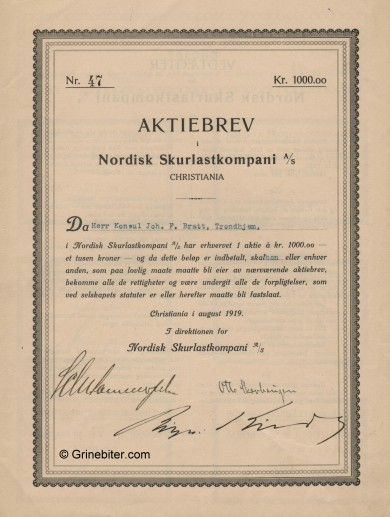 Nordisk Skurlastkompani Stock Certificate Aksjebrev