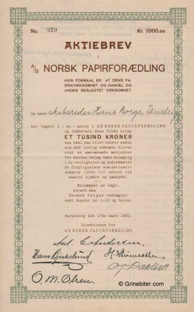 Norsk Papirforædling A/S Stock Certificate Aksjebrev