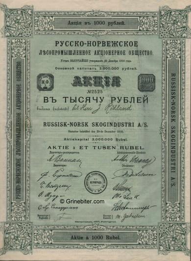 Russisk-Norsk Skogindust Stock Certificate Aksjebrev