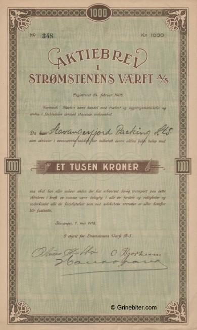 Strømstenens Værft Stock Certificate Aksjebrev