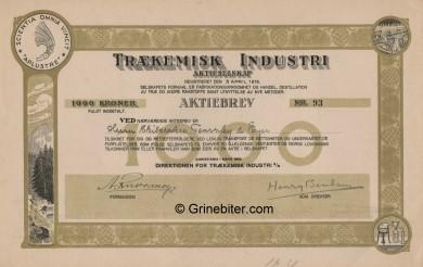 Trækemisk Industri Stock Certificate Aksjebrev