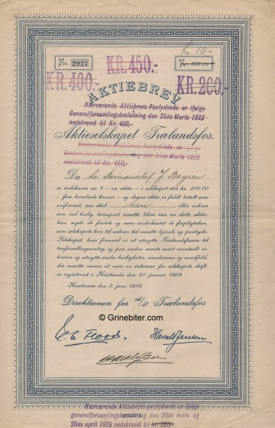 Trælandsfos A/S Stock Certificate Aksjebrev