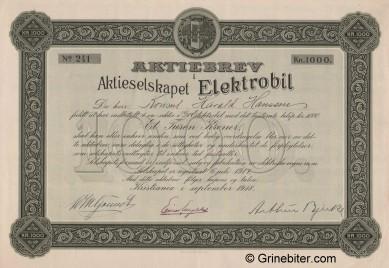 Elektrobil A/S Stock Certificate Aksjebrev