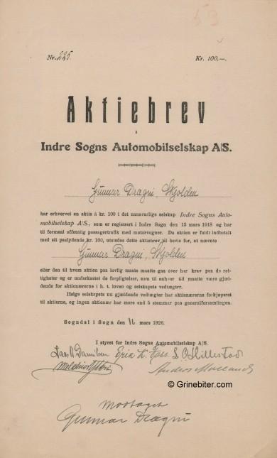 Indre Sogns Automobil Sel Stock Certificate Aksjebrev