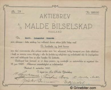 Malde Bilselskap A/S Stock Certificate Aksjebrev