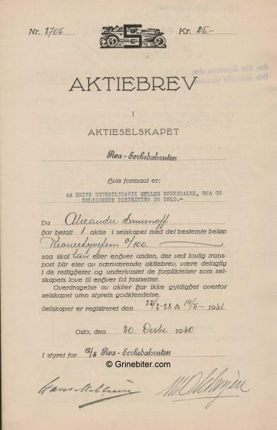Røa-Sørkedalsruten A/S Stock Certificate Aksjebrev