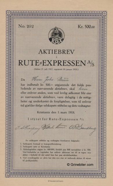 Rute=Expressen Stock Certificate Aksjebrev