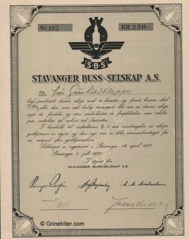 Stavanger Buss-Selskap Stock Certificate Aksjebrev