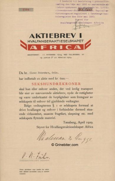 Africa Hvalfangeraktieselskapet Stock Certificate Aksjebrev