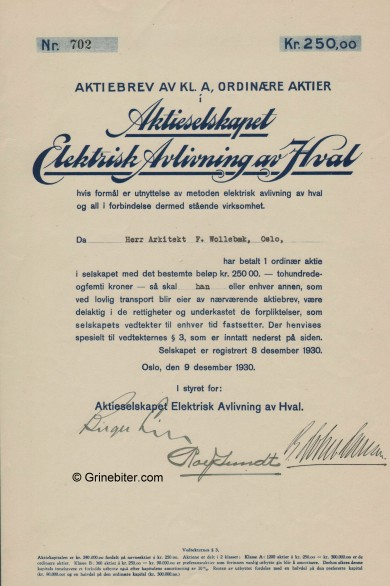 Elektrisk Avlivning av Hval Stock Certificate Aksjebrev