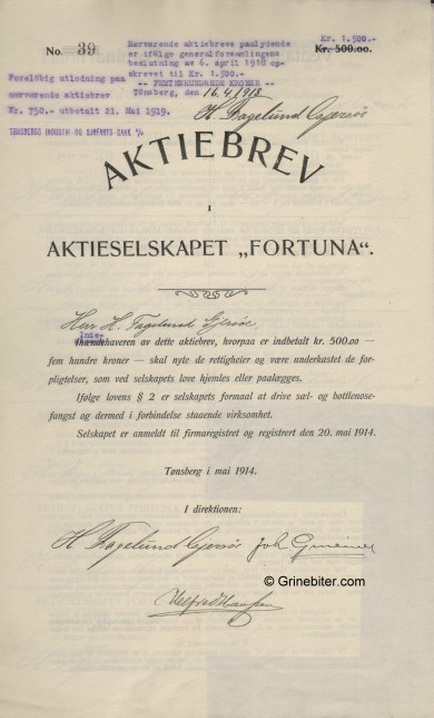 Fortune Stock Certificate Aksjebrev