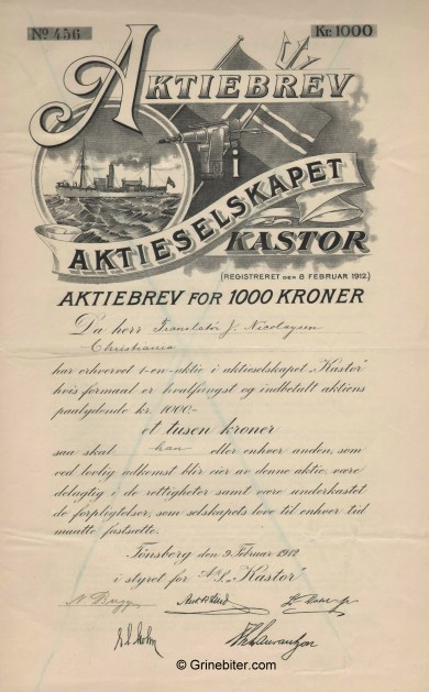 Kastor Whale Company - Picture of Norwegian Whale Certificate