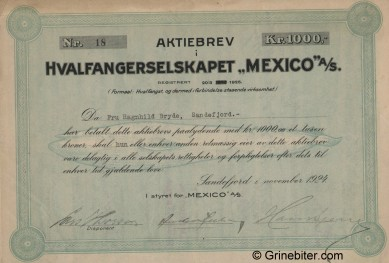 Mexico Hvalfangerselskap aksjebrev old stock Certificate