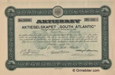 South Atlantic Stock Certificate Aksjebrev