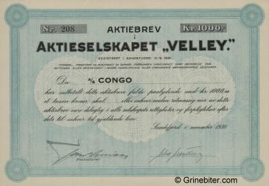 Velley Stock Certificate Aksjebrev