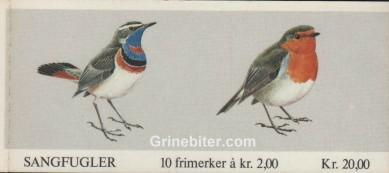Blåstrupe og rødstrupe FH57 frimerkehefte